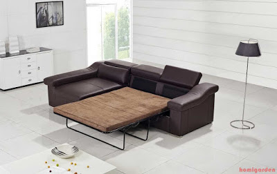 Modern Leather Sofa Bed furniture in Brown color