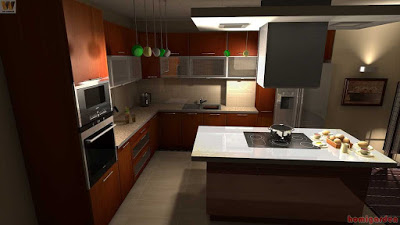 L-shaped kitchen cabinets