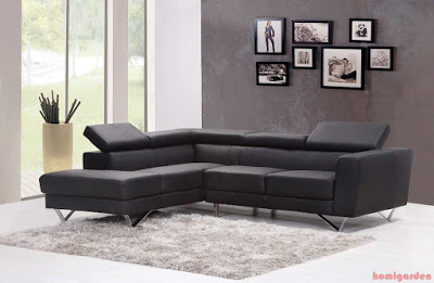 Stylish modern living room furniture design black comfortable sofa set with rug