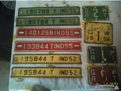 Vintage license plates are colorful and well traveled!